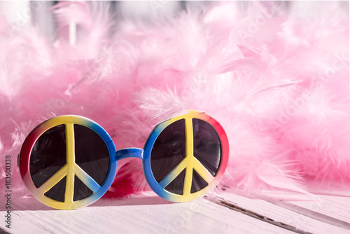 Cuadros en Lienzo Hippie style: peace sign sunglasses and pink feather boa