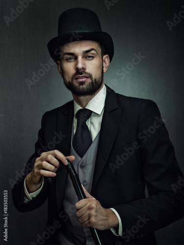 Photo Englishman detective, retro style male portrait