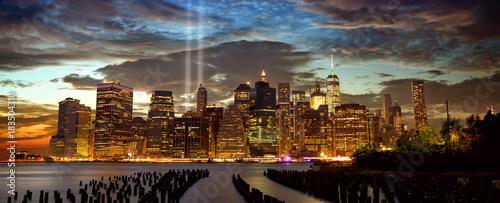 New York City Manhattan skyline panorama with Tribute in Light