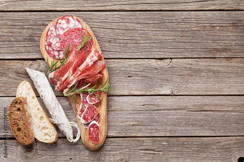 Aluminium Prints Buffet, Bar Salami, sliced ham, sausage, prosciutto