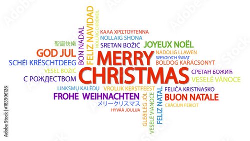 Fotografiet Word cloud Merry Christmas