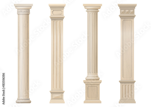 Set vintage classic wood carved architectural columns with ornament for interior or facade Wallpaper Mural