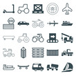 Set of 25 transportation filled and outline icons