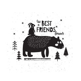 Bear and hare in doodle style - 183507758