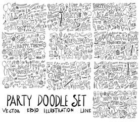 Set of Party illustration Hand drawn doodle Sketch line vector eps10