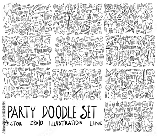 Obraz Set of Party illustration Hand drawn doodle Sketch line vector eps10 - fototapety do salonu