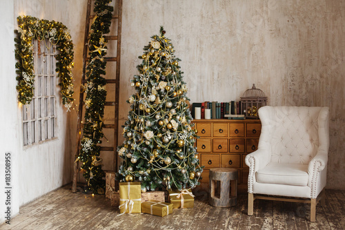 Christmas Room Interior Design Xmas Tree Decorated By Lights Resents Gifts  Toys Candles Copy Space Holiday