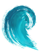 Sea Wave. Abstract Watercolor Hand Drawn Illustration, Isolated On White Background.