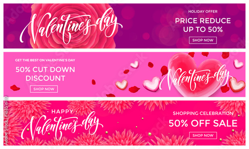 Valentine Day Sale Banners Design Template Vector Red Heart On Pink