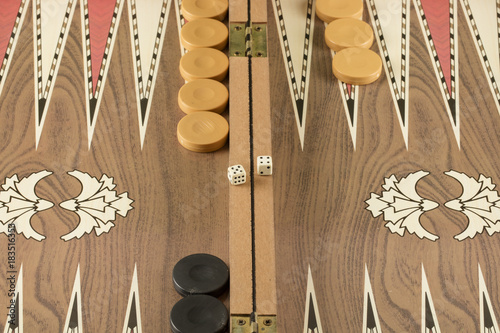 Photo backgammon game with two dice