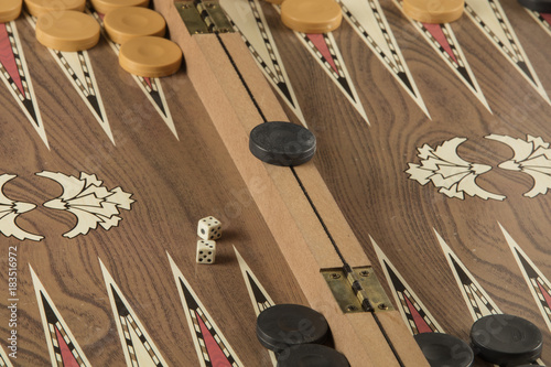 backgammon game with two dice Canvas Print