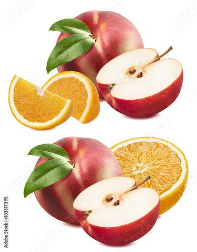 Stampe  Peach, apple, orange set isolated on white background