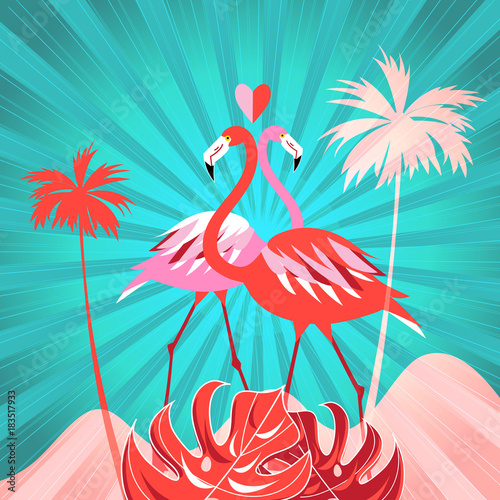 Tropical background with palm trees and flamingo © tanor27