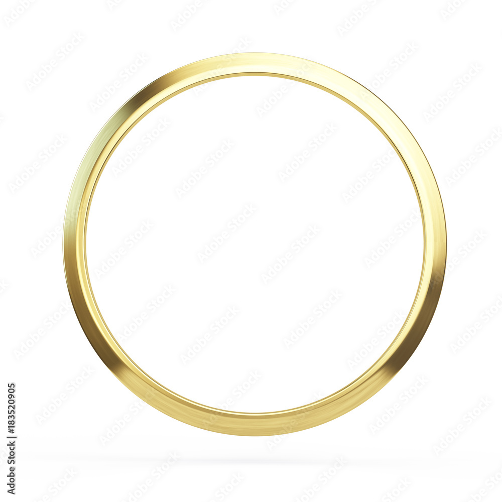 Fototapety, obrazy: Gold ring isolated on white background - 3d illustration
