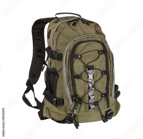 Obraz Khaki backpack isolated on white background. - fototapety do salonu