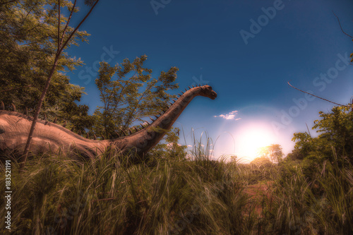 Photo Dinosaur in Tall Grass at Sunrise - Photoshop Compositing