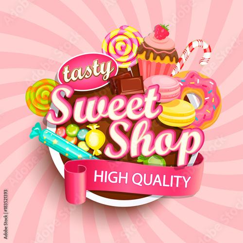 Sweet shop logo label or emblem for your design. Vector illustration.