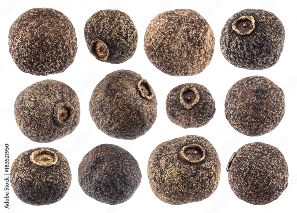 Fototapety, obrazy: Allspice isolated on white background closeup. Black pepper collection