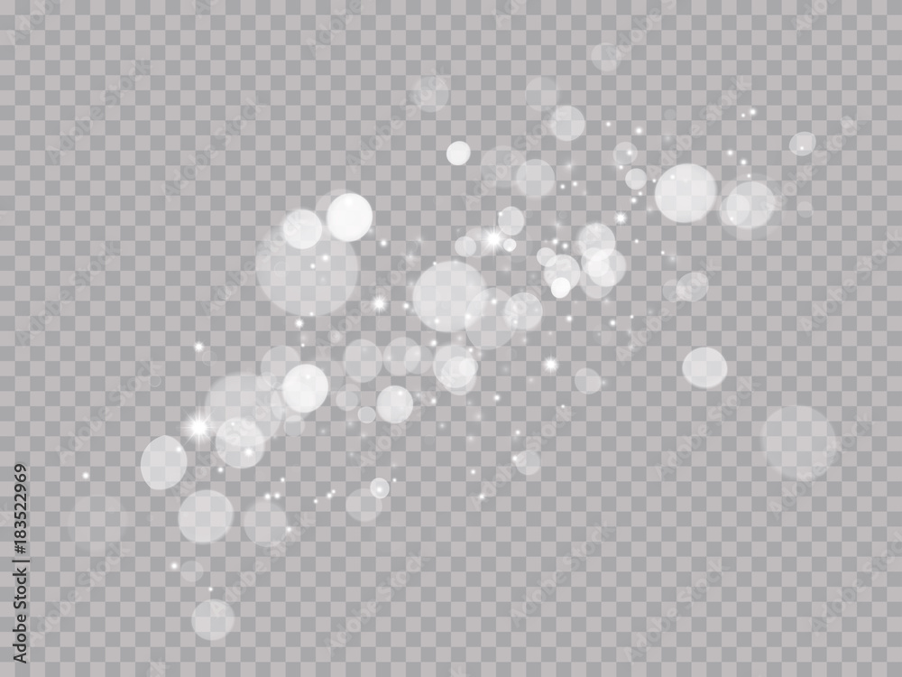 Fototapeta Abstract light shine blur bokeh effect on white transparent background. Vector lens flare spot light sparkles or shiny glittering glow beams for modern trendy Christmas celebration design template