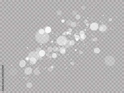 Fotografiet Abstract light shine blur bokeh effect on white transparent background