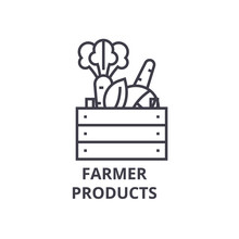 Farmer Products Line Icon, Out...