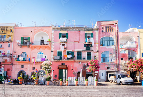 Foto auf AluDibond Neapel Procida island with colorful houses in small town street, Italy, retro toned