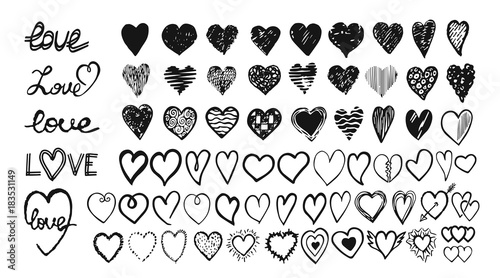 Fotografie, Obraz  Hand drawn hearts. Design elements for Valentine day.