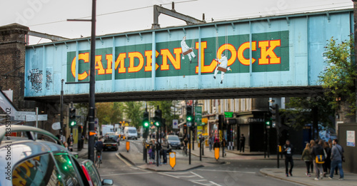 CAMDEN TOWN, LONDON, UNITED KINGDOM - 2017: Road Sign to the World Famous Camden Market