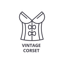 Vintage Corset Line Icon, Outl...