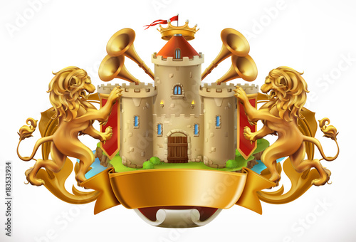 Poster  Coat of arms. Castle and lions. 3d vector icon