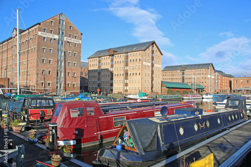 Fotografia, Obraz Narrow boats in Gloucester Docks