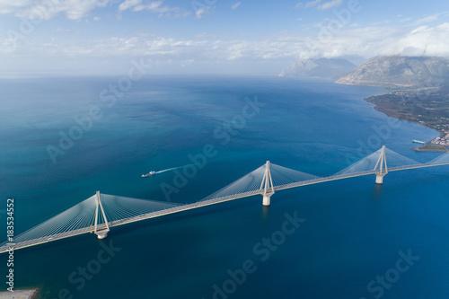 aerial view of the Charilaos Trikoupis bridge Rio-Antirio Canvas Print