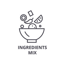 Ingredients Mix Line Icon, Out...