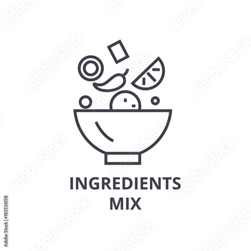 Slika na platnu ingredients mix line icon, outline sign, linear symbol, flat vector illustration