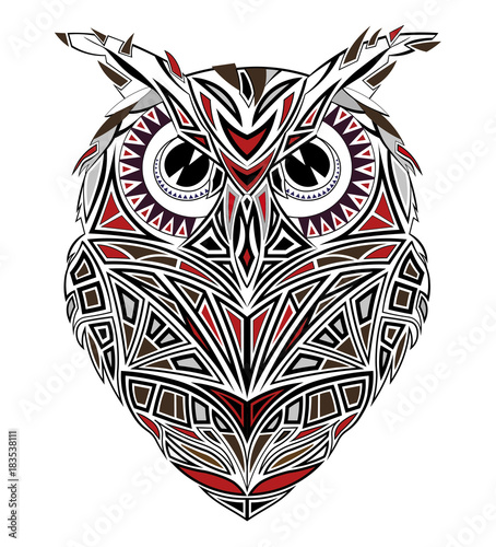 Poster Uilen cartoon Graphic red-black owl