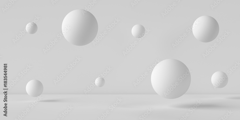 Suspended balls on a white background. 3D image rendering.