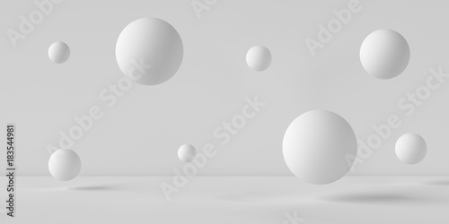 Suspended balls on a white background. 3D image rendering. - 183544981