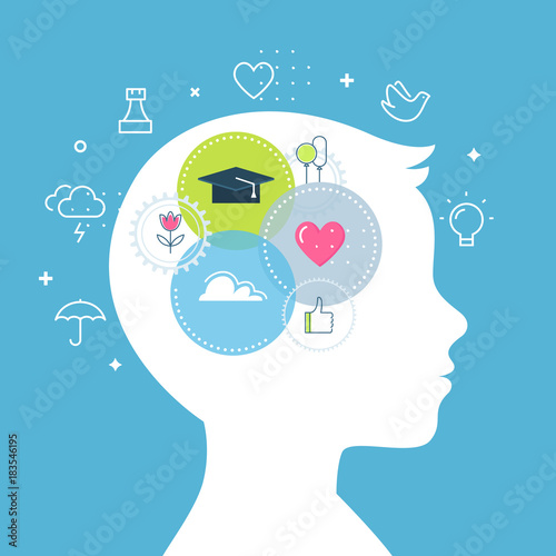 Fotomural Emotional Intelligence, Feeling and Emotions Concept Vector Illustration
