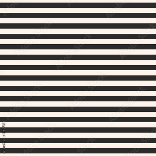 Horizontal stripes vector seamless pattern. Black and white lines texture