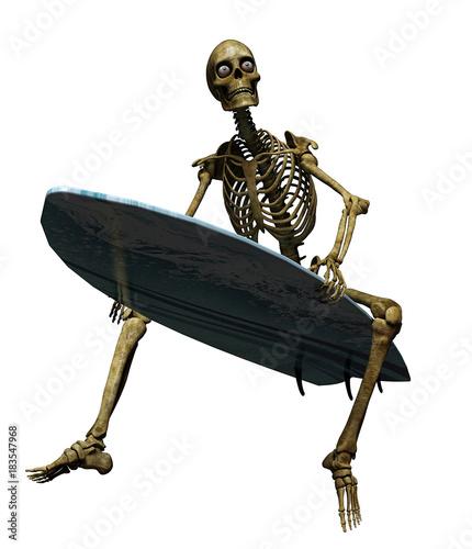 skeleton cartoon surfing waiting fot the big wave - Buy this