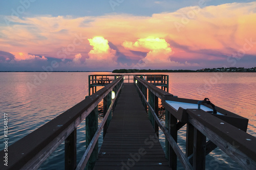 Canvas Prints Cappuccino Vibrant technicolor sunset over Sarasota Bay