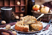 Piece Of Fresh Homemade Apple And Cinnamon Crumb Coffee Cake