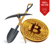 Bitcoin mining concept. 3D isometric Physical bit coin with pickaxe and shovel. Digital currency. Cryptocurrency. Golden bitcoin.