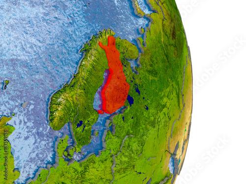 Staande foto Kameleon Finland on realistic globe