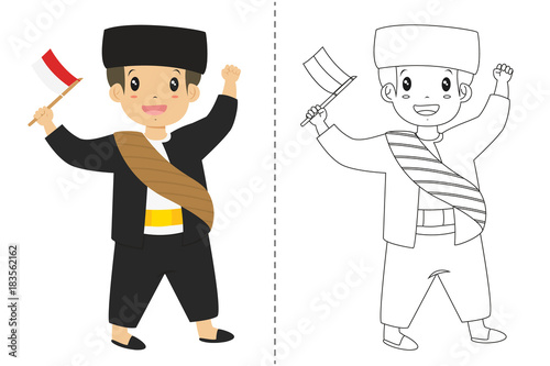 Indonesian Boy Wearing Betawi Jakarta Traditional Dress And Holding An Flag Children
