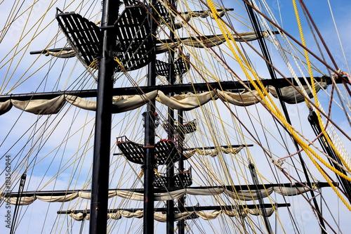 Fotografie, Obraz  ship mast with folded sails