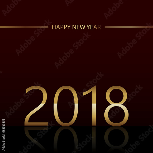 Fototapeta Happy New Year background with glowing lights text 2018 on black background. Vector obraz na płótnie