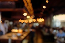 Blur People In Cafe,restaurant With Light Abstract Bokeh Background.