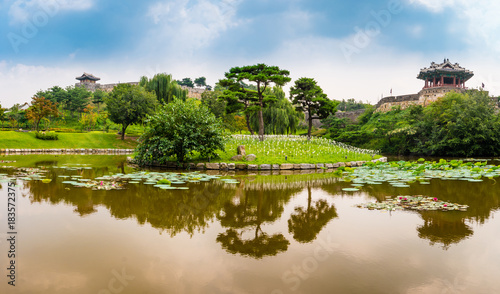 Photo  Suwon, South Korea - Yongyeon Pond in Hwaseong Fortress, Korea's World Heritage