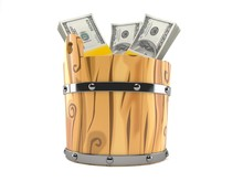 Money Inside Wooden Bucket